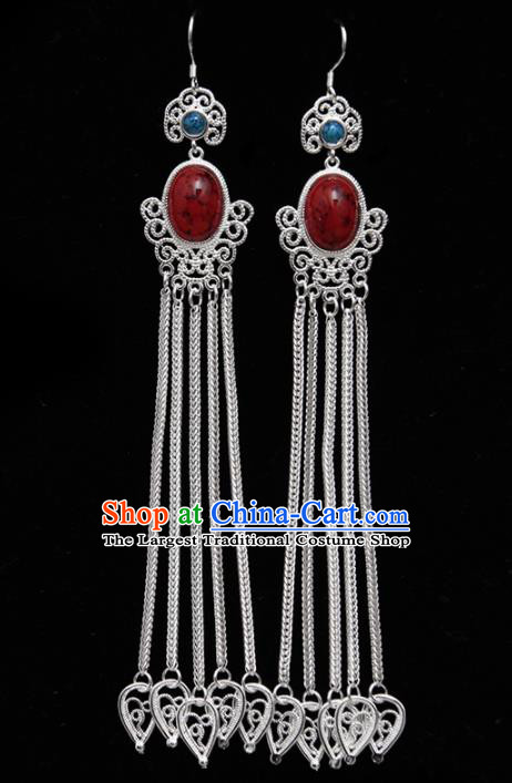 Chinese Ethnic Jewelry Accessories Mongolian Minority Long Tassel Earrings for Women