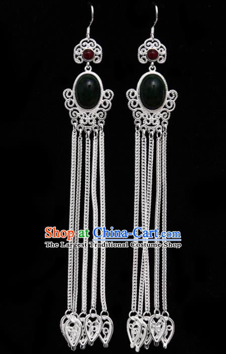 Chinese Ethnic Jewelry Accessories Mongolian Minority Long Tassel Black Earrings for Women