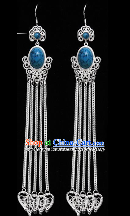 Chinese Ethnic Jewelry Accessories Mongolian Minority Long Tassel Sliver Earrings for Women