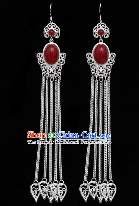 Chinese Ethnic Jewelry Accessories Mongolian Minority Long Tassel Red Earrings for Women