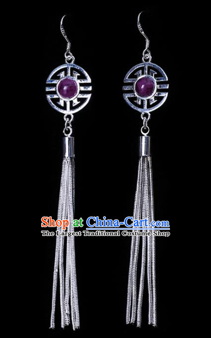 Chinese Traditional Ethnic Jewelry Accessories Eardrop Mongolian Purple Beads Earrings for Women