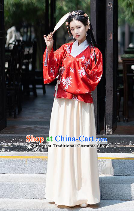 Traditional Chinese Ming Dynasty Nobility Lady Costumes Ancient Peri Red Hanfu Dress for Rich