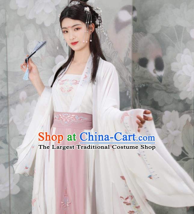 Traditional Chinese Tang Dynasty Nobility Lady Embroidered Costumes Ancient Peri Goddess White Hanfu Dress for Rich Women