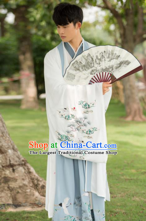 Traditional Chinese Jin Dynasty Nobility Childe Costumes Ancient Scholar Embroidered Hanfu Clothing for Men