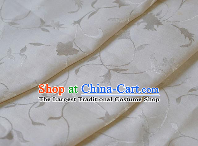 Asian Chinese Fabric Traditional Twine Pattern Design White Brocade Fabric Chinese Costume Silk Fabric Material