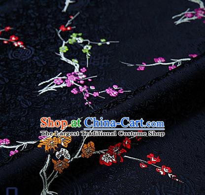 Asian Chinese Black Brocade Fabric Traditional Plum Blossom Pattern Design Satin Tang Suit Silk Fabric Material