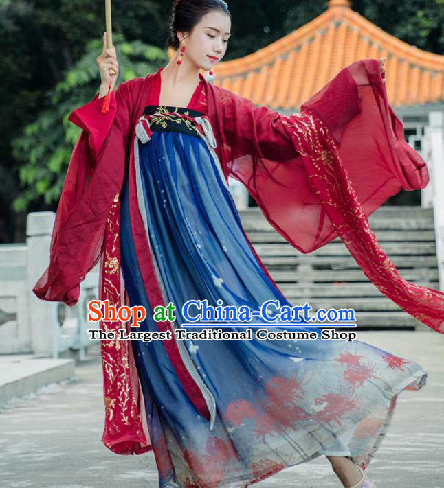 Traditional Chinese Ancient Imperial Consort Hanfu Dress Tang Dynasty Princess Embroidered Historical Costumes for Women