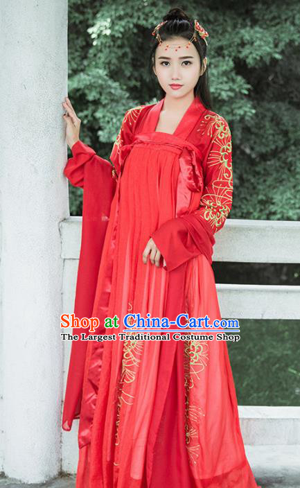 Traditional Chinese Ancient Bride Red Hanfu Dress Tang Dynasty Embroidered Wedding Historical Costumes for Women