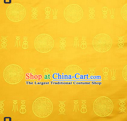 Chinese Traditional Yellow Brocade Drapery Classical Fu Character Pattern Design Satin Tang Suit Silk Fabric Material