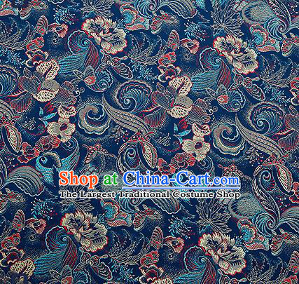 Traditional Chinese Navy Brocade Drapery Classical Butterfly Peony Pattern Design Satin Cheongsam Silk Fabric Material