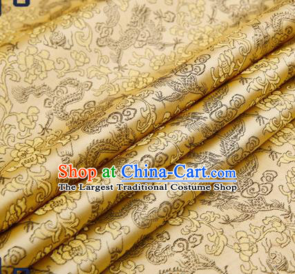 Traditional Chinese Satin Brocade Drapery Classical Black Dragons Pattern Design Qipao Silk Fabric Material