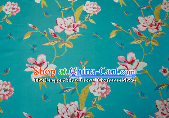 Traditional Chinese Lake Blue Satin Brocade Drapery Classical Embroidery Peony Pattern Design Cushion Silk Fabric Material