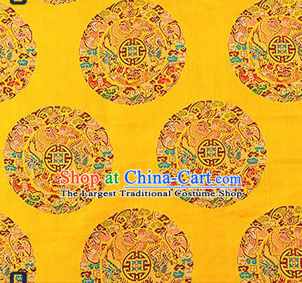 Asian Chinese Traditional Fabric Tang Suit Yellow Brocade Silk Material Classical Dragons Pattern Design Satin Drapery