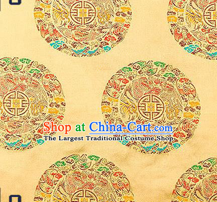 Asian Chinese Traditional Fabric Tang Suit Golden Brocade Silk Material Classical Dragons Pattern Design Satin Drapery