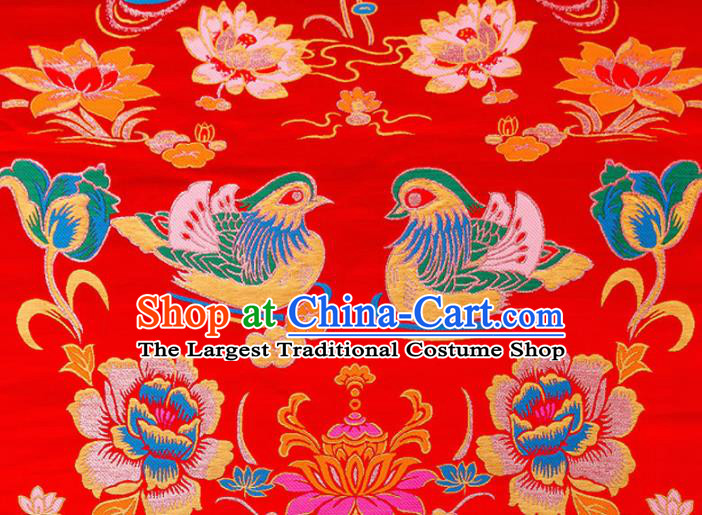 Asian Chinese Traditional Fabric Red Brocade Silk Material Classical Mandarin Duck Pattern Design Satin Drapery