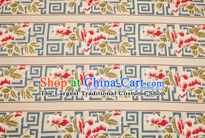Traditional Chinese Classical Satin Brocade Drapery Embroidery Peony Pattern Design Table Flag Silk Fabric Material