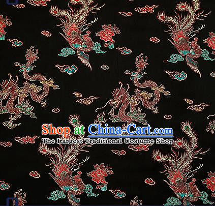 Traditional Chinese Classical Black Satin Brocade Drapery Dragon Phoenix Pattern Design Qipao Dress Silk Fabric Material