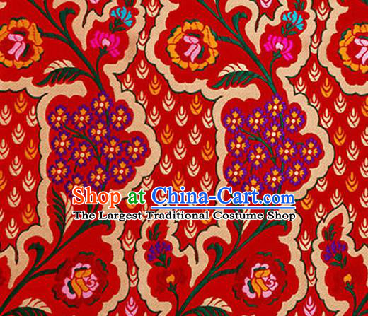 Traditional Chinese Tang Suit Red Nanjing Brocade Material Silk Fabric Classical Flowers Pattern Design Satin Drapery