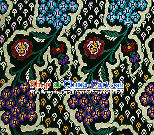 Traditional Chinese Tang Suit Black Nanjing Brocade Material Silk Fabric Classical Flowers Pattern Design Satin Drapery