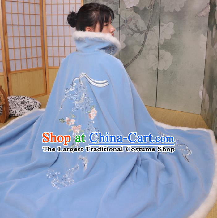 Chinese Ancient Ming Dynasty Princess Costume Embroidered Blue Cloak for Women