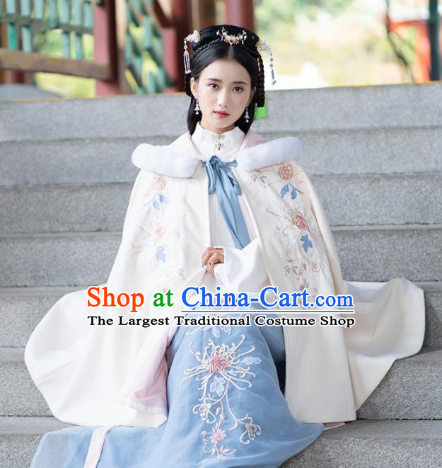 Chinese Ancient Ming Dynasty Princess Winter Costume Embroidered White Cloak for Women