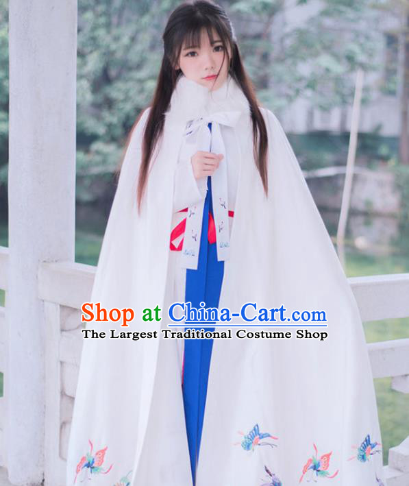 Chinese Ancient Ming Dynasty Princess Winter Costume Embroidered Butterfly White Cloak for Women