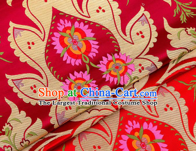 Asian Chinese Traditional Satin Fabric Tang Suit Purplish Red Brocade Silk Material Classical Pattern Design Drapery