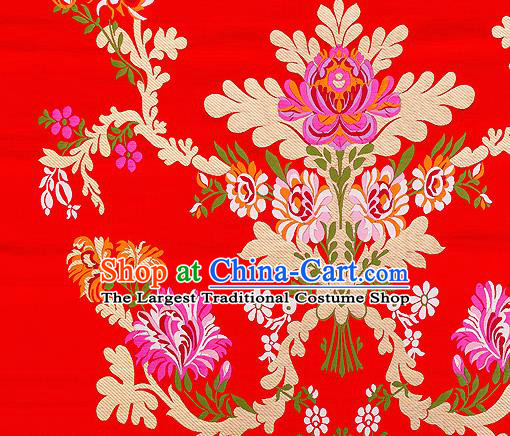 Asian Chinese Traditional Satin Fabric Tang Suit Red Brocade Silk Material Classical Peony Pattern Design Drapery