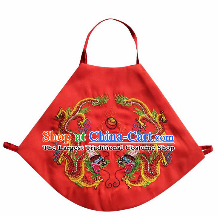 Chinese Classical Red Brocade Bellyband Traditional Baby Embroidered Double Dragons Stomachers for Kids
