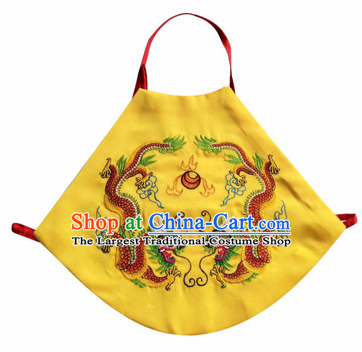 Chinese Classical Yellow Brocade Bellyband Traditional Baby Embroidered Double Dragons Stomachers for Kids