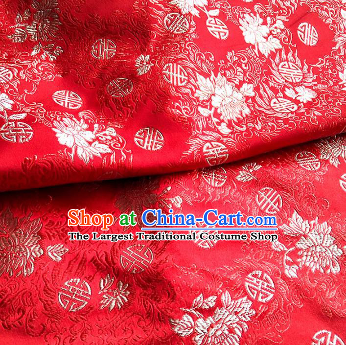 Asian Chinese Traditional Satin Fabric Tang Suit Red Brocade Silk Material Classical Pattern Design Drapery