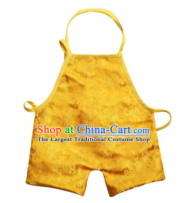 Chinese Classical Yellow Brocade Bellyband Traditional Baby Embroidered Dragons Pantyhose Stomachers for Kids