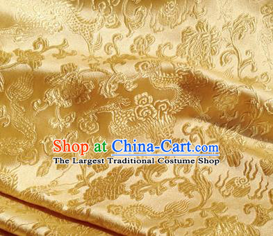 Asian Chinese Traditional Fabric Golden Satin Brocade Silk Material Classical Dragons Pattern Design Satin Drapery