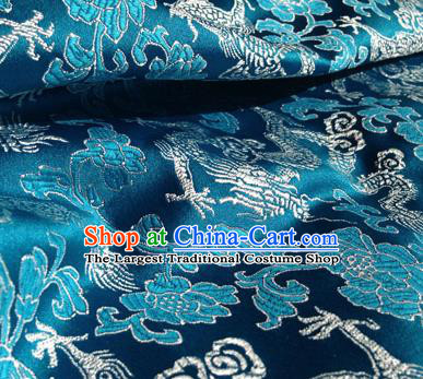 Asian Chinese Traditional Fabric Blue Satin Brocade Silk Material Classical Dragons Pattern Design Satin Drapery