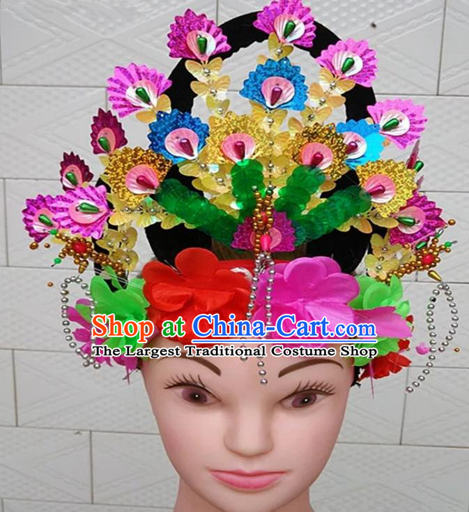 Chinese Traditional Folk Dance Yanko Dance Hair Accessories Peking Opera Peri Headwear for Women