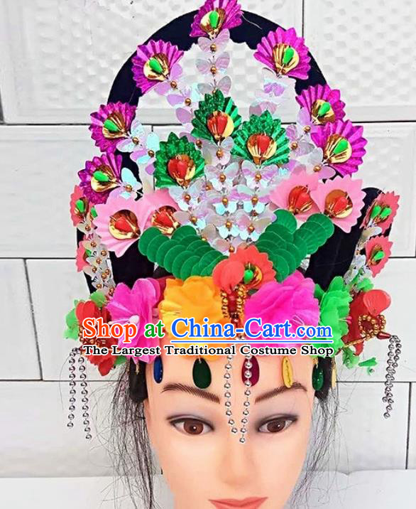 Chinese Traditional Folk Dance Yanko Dance Hair Accessories Peking Opera Princess Headwear for Women
