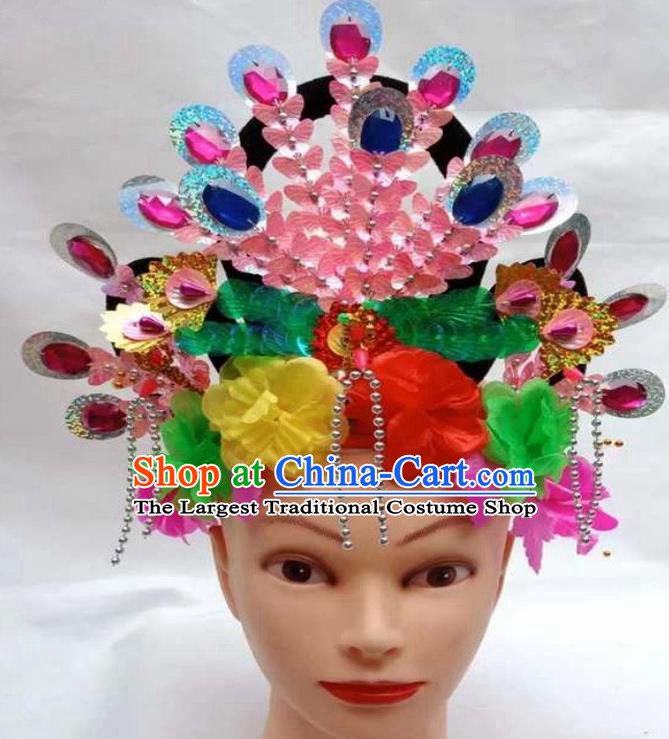 Chinese Traditional Folk Dance Yanko Dance Hair Accessories Peking Opera Diva Headwear for Women