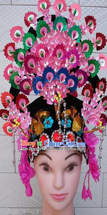 Chinese Traditional Folk Dance Sequins Hair Accessories Ancient Peking Opera Diva Headwear for Women