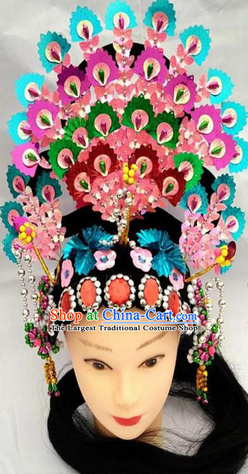 Chinese Traditional Folk Dance Blue Sequins Hair Accessories Ancient Peking Opera Diva Headwear for Women
