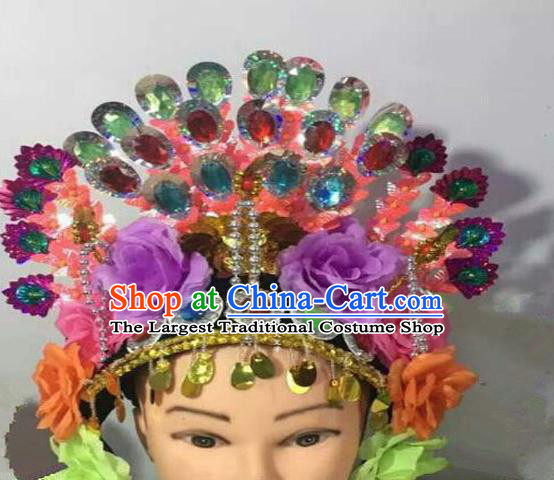Chinese Traditional Folk Dance Purple Peony Hair Accessories Ancient Peking Opera Diva Headwear for Women