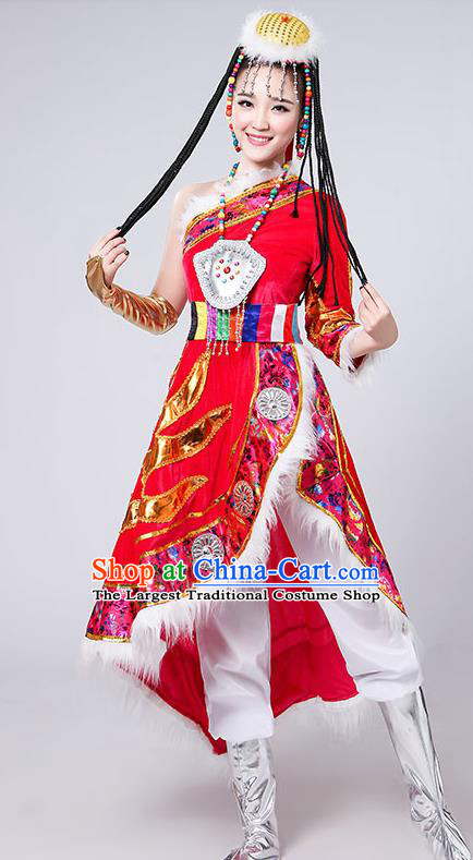 Chinese Traditional Tibetan Ethnic Costumes Zang Nationality Folk Dance Red Dress for Women