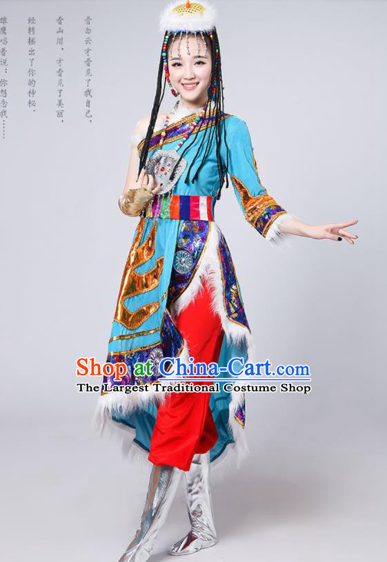 Chinese Traditional Tibetan Ethnic Costumes Zang Nationality Folk Dance Blue Dress for Women