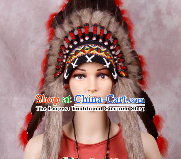 Top Performance Catwalks Headwear Halloween Cosplay Apache Knight Hair Accessories Feather Hat