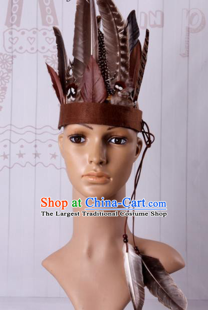 Halloween Savage Catwalks Deluxe Feather Headdress Cosplay Apache Knight Feather Hair Clasp for Adults