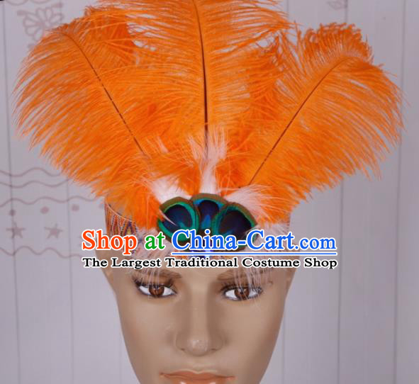 Halloween Catwalks Orange Feather Headdress Cosplay Apache Knight Feather Hair Clasp for Adults