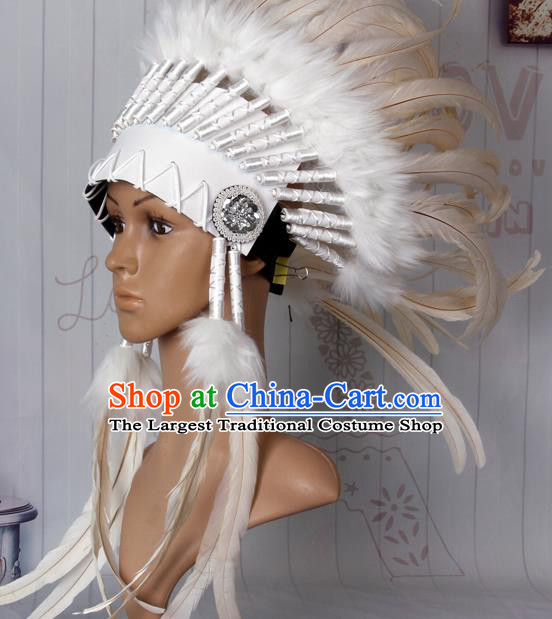 Halloween Performance Catwalks Headwear Cosplay Apache Knight Hair Accessories White Feather Hat for Adults