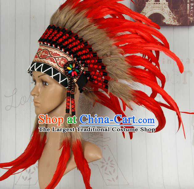 Halloween Performance Catwalks Headwear Cosplay Apache Knight Hair Accessories Red Feather Hat for Adults