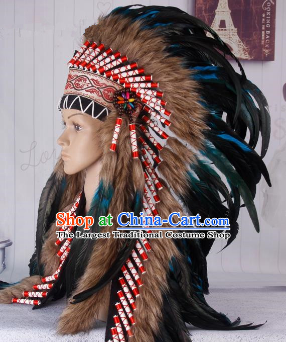 Halloween Performance Catwalks Headwear Cosplay Apache Knight Hair Accessories Deluxe Blue Feather Hat for Adults