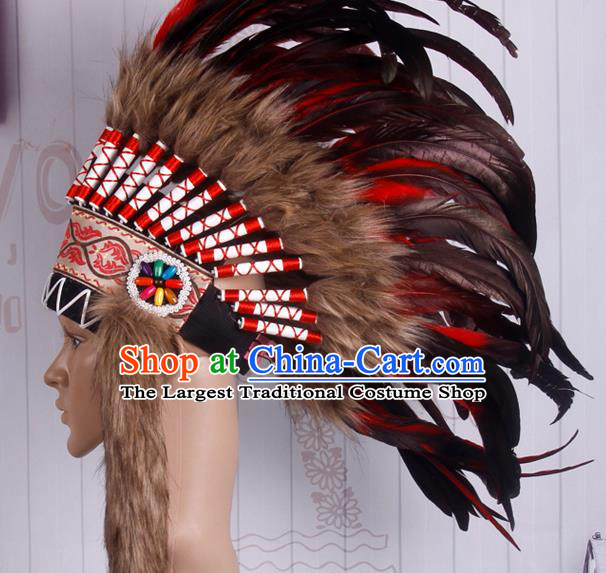 Halloween Performance Catwalks Deluxe Feather Headdress Cosplay Apache Knight Feather Hat for Adults