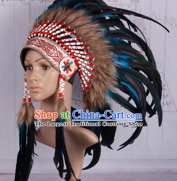 Halloween Donald Catwalks Deluxe Colorful Feather Headdress Cosplay Apache Knight Feather Hat for Adults